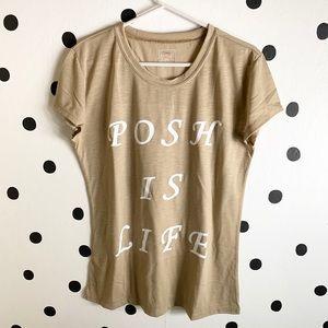 🆕POSH IS LIFE BROWN/WHITE SHIRT SIZE L